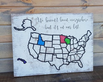 USA Map Travel Tracker - Colorable Wooden USA Map - USA Map Wall Art - United States of America Travel Map - Fathers Day Gift - Bucket List