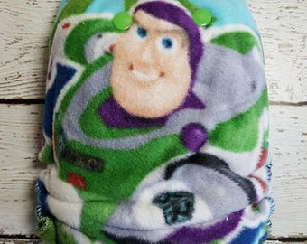 Buzz Lightyear ACE After Dark Windpro hybrid fitted extended wear cloth diaper-night time diaper-overnight diaper-ace fluff- bamboo insert