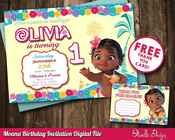 Baby moana invitations pictures to pin on pinterest for Moana invitation template free