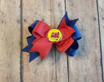 Spider-Man stacked boutique hair bow.
