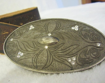 Western Style Brown Leather Ladies Belt - large oval buckle with scroll work, 16 Rhinestones. Designs on leather, great Western accessory!