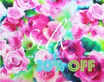 Fuchsia Rose Silk Fabric 138x200cm buy rosette fabric