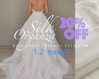 Ivory white organza silk 135x120cm
