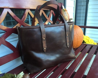 Canvas Lined Leather Tote