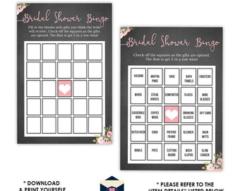 Chalkboard Bridal Shower Bingo Game - Pink Flowers Bingo - Bingo Bridal Shower Game - Instant Download Bridal-104