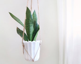 Milk Glass Hanging Planter | Vintage Off White Plant Pot Holder & Beige Jute Rope Macrame Hanger | Cactus, Succulent Bowl, Vase