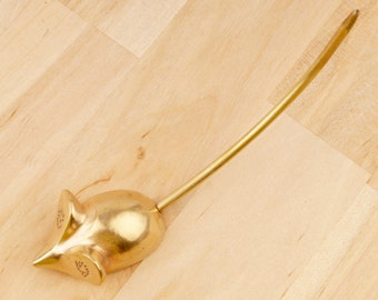 Mouse - Ring holder || Vintage brass ring holder || Tail is used as holder