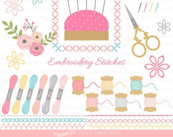Embroidery Stitches and Supplies / Sewing Supplies / Stitches  Clip Art - Instant Download - CA059