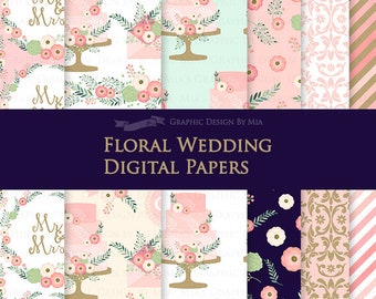 Floral Wedding Pink / Wedding Digital Paper Pack - Instant Download - DP152