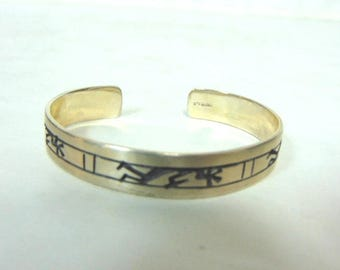 Vintage Estate Sterling Silver Southwestern Design Cuff Bracelet 22.2g E770