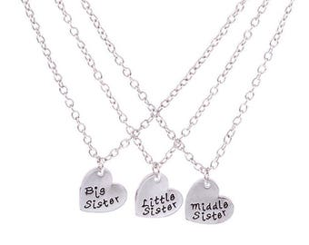 lovely pendant neckalaces 3 PC set for three sisters, big sister, middle sister, little sister a gift for all three sisters