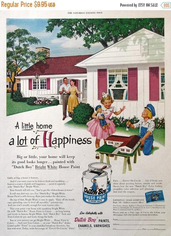 Sale 1954 dutch boy house paint ad 1950s by retroreveries - Dutch boy exterior paint colors property ...