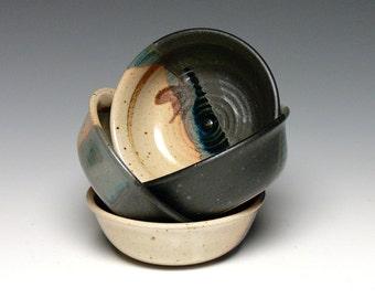Hand Thrown Ice Cream Bowls - Set of 4, Pottery Prep Bowls, Yogurt Bowls, Stoneware Dip Bowls