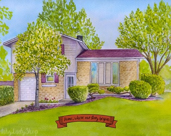Personalised house portrait/First home watercolor portrait/Custom house painting/House drawing from photo/Wedding gift/Custom house drawing