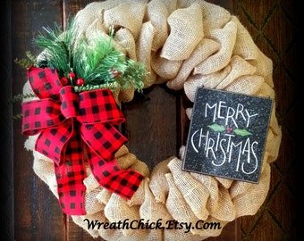 Christmas door wreath, Holiday wreath, Merry Christmas wreath, Winter wreath, Holiday decor, Outdoor wreath, Burlap Christmas wreath, wreath