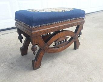 Antique Victorian Needlepoint Footstool Ottoman Stool
