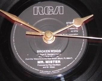 """Mr mister broken wings 7"""" vinyl record clock"""
