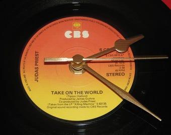 "Judas Priest take on the world 7"" vinyl record clock"