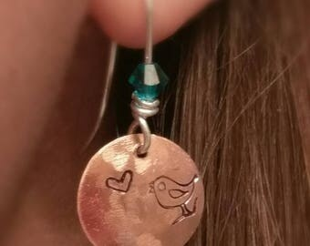 Hand stamped bird song copper heart earrings