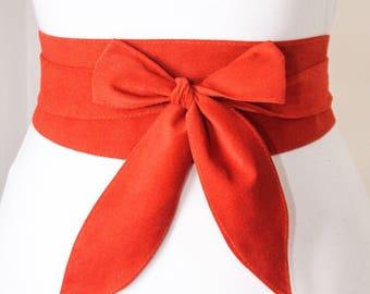 Orange Suede Obi Belt | Corset Waist Belt | Sash Belt |Suede Leather Belt| Tie obi Belt | Plus size | Leather Wrap Belt