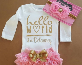 "Gold Glitter Vinyl ""Hello World I'm  personalized name bodysuit,Pink Bloomers,& Headbnd Set,baby girl, newborn,hospital outfit,take home set"