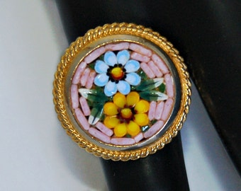 Big 70's Italy micro mosaic gold plate romantic colorful flowers boho ring, round woodland blue & orange daisies open band statement, size 6