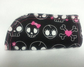 Skull Soft Eye Glass Case, Black , White and Pink