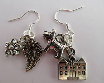 Outlander Claire Fraser themed Doctor Bouton Herbalist Medical Dangle Drop Earrings