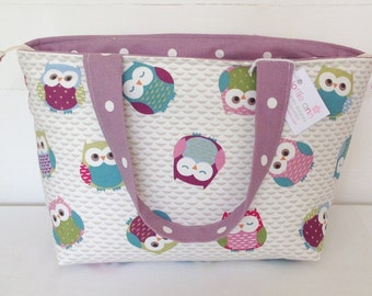 Owls Zippered Tote Bag, Owls Bag, Medium Zippered Bag