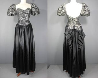 80's Prom Dress.........80's Silver And Black Formal Prom Dress Party Dress Bridesmaids Dress