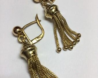 Antique Victorian 14k Yellow Gold Dangle Tassle Pierced Earrings