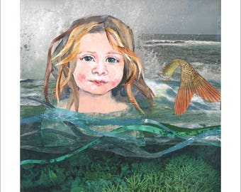 Little Mermaid 2016 Giclee print of original artist collage and mixed media image