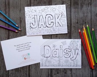 Personalised Colouring Cards