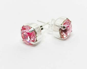 Rose Pink Crystal Earrings Swarovski Elements 8mm Chaton Studs Unique Gift For Her Rose Pink Crystal Jewellery Sparkly Pink Silver Earrings