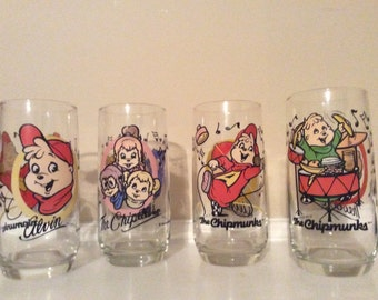 Four Alvin and the Chipmunks Drinking Glasses, Bagdasrian/ Karman /Ross Productions.