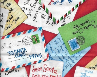 New Christmas Letters to Santa Claus 100% cotton fabric by the Fat Quarter