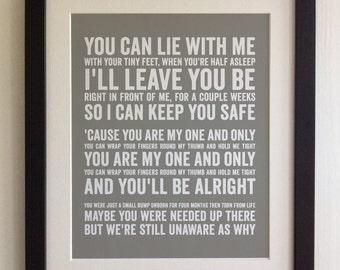 FRAMED Lyrics Print - Ed Sheeran, Small Bump - 20 Colours options, Black/White Frame, Wedding, Anniversary, Valentines, Fab Picture Gift