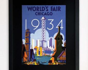 """LARGE 20""""x16"""" FRAMED Advertising Print, Black or White Frame/Mount, World's Fair, Chicago 1934"""