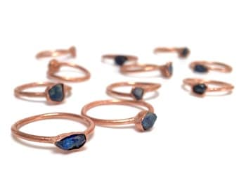 Alternative Engagement Ring // Blue Sapphire and Copper Electroformed Ring // September Birthstone // Raw Stone Ring // Boho Jewelry