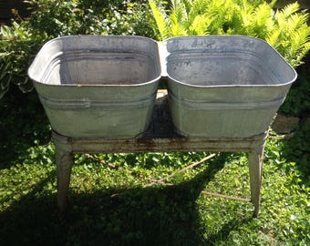 Antique Farmhouse Double Wash Tubs on a Stand Primitive Possibilities are Endless