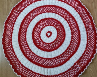 Red and White Baby Valentine's Day Blanket, Lille Matellasse Circular Baby Afghan, Round Christmas Blanket