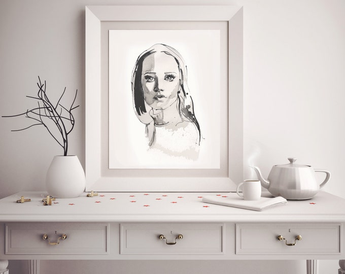 Minimalist custom ink portrait - amazing gift for every mum or parent, original Christmas gift