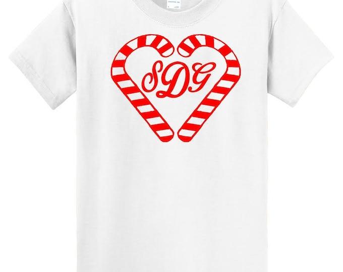 KIDS GLITTER CANDY Cane Monogrammed T-Shirt ab