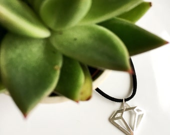 Choker | silver diamond suede necklace
