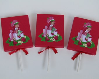 12 Strawberry Shortcake Lollipop Favor Candy Cover/Box - Strawberry Shortcake Girl Birthday Party Favor - Strawberry Party Classroom Favors