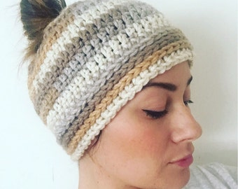 Messy Bun Beanie // Crocheted Beanie // Winter Hat >> color options