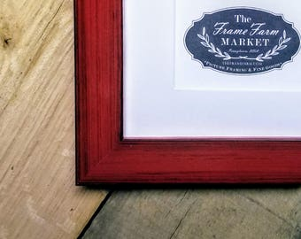 Adrie Rustic Red Wood Picture Frame 8x10, 9x12, 11x14, 14x16, 16x20 Custom Standard and custom sizes available.