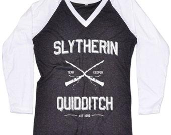 New Harry Potter Slytherin Quidditch Raglan Baseball TShirt Slytherin Tshirt Slytherin Shirt Jersey Long Sleeve Women Girls XS,S,M,L,XL