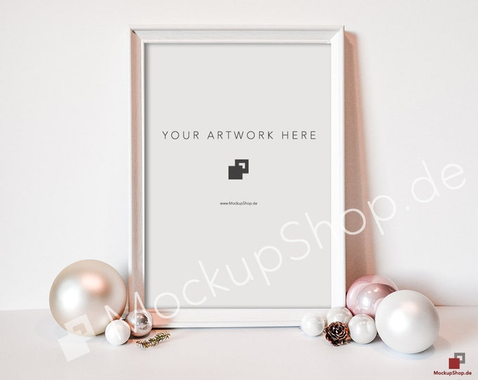 CHRISTMAS MOCKUP White FRAME / Din A4 / Pink & white Christmas balls / Merry Christmas Mockup / Merry Xmas Frame Mockup / Santa Claus Mockup