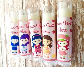Strawberry Girls Lip Balm- Set of 5 - Shortcake Party - Strawberry Birthday Ideas - Favors -  Invitation - Birthday Card - Favor Bags